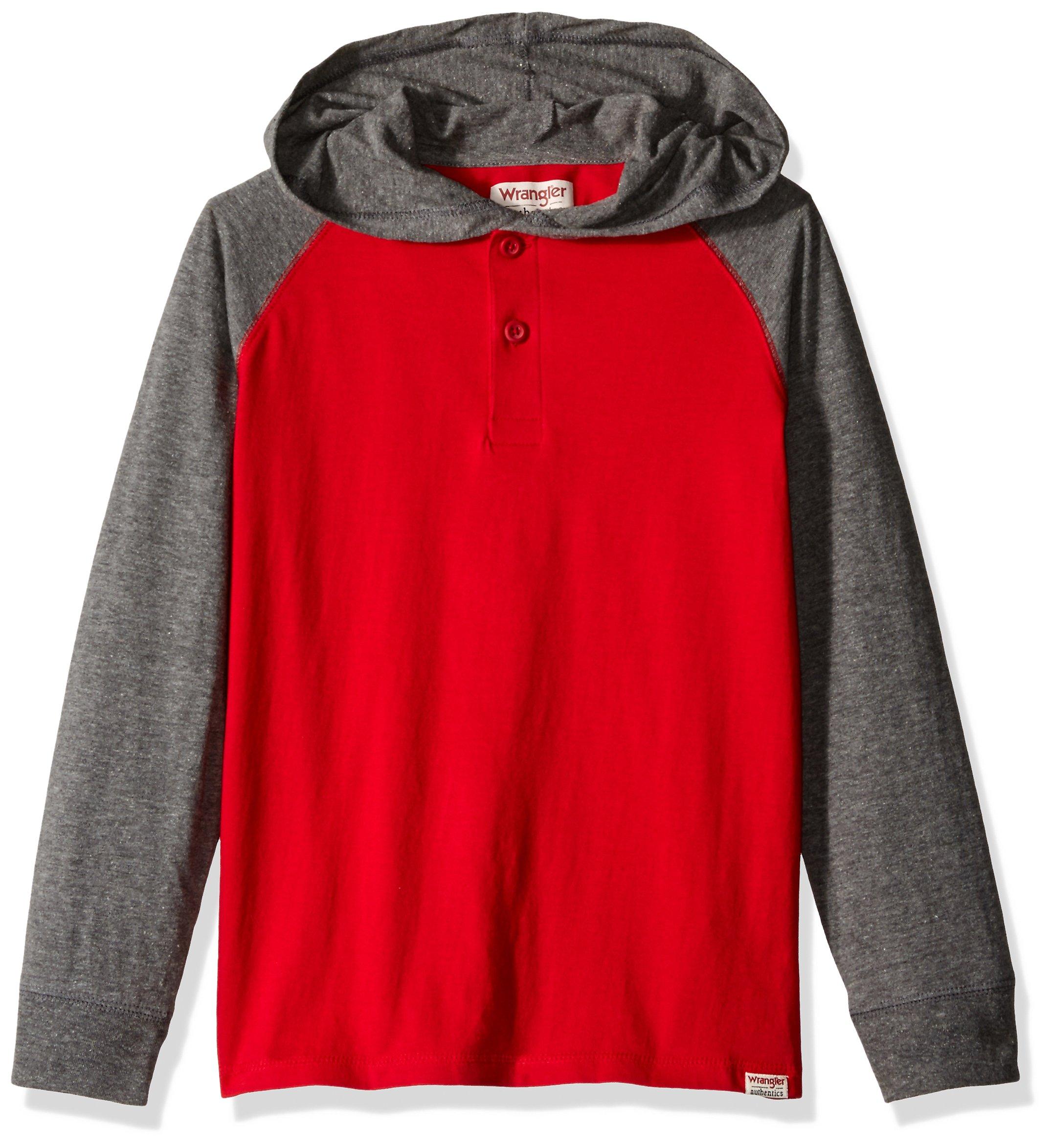 Wrangler Big Boys' Authentics Long Sleeve Hoodie, Red/Charcoal Heather, Medium