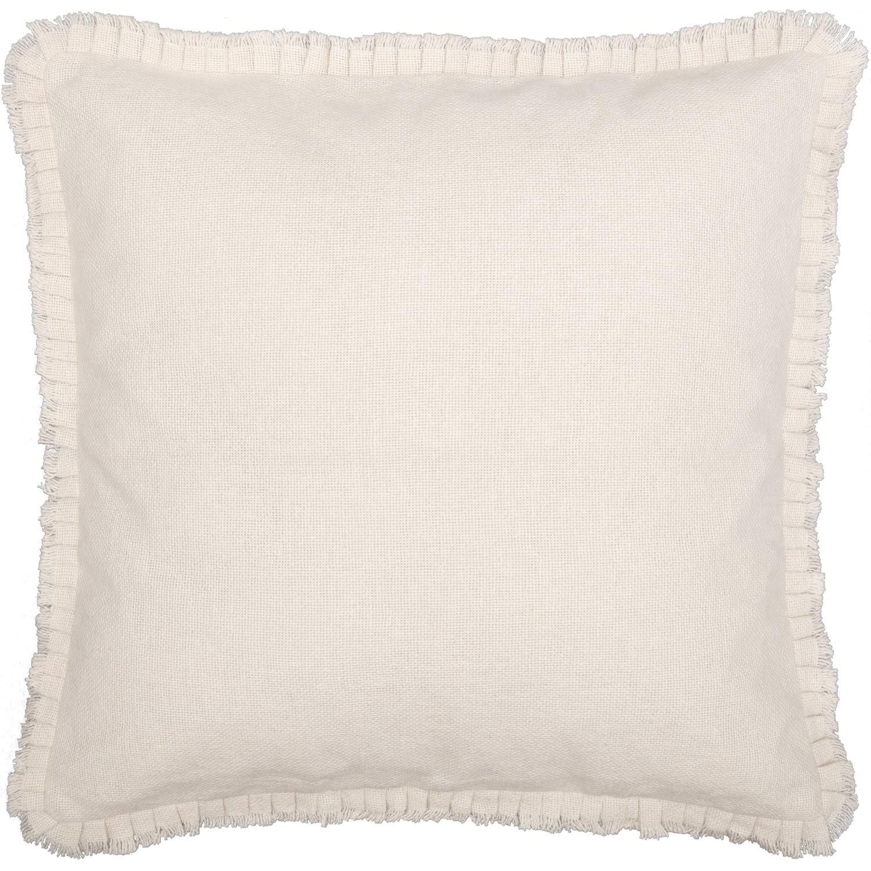 VHC Brands Farmhouse Bedding Natural Fringed Ruffle Cotton Burlap Solid Color Euro Sham, Antique White