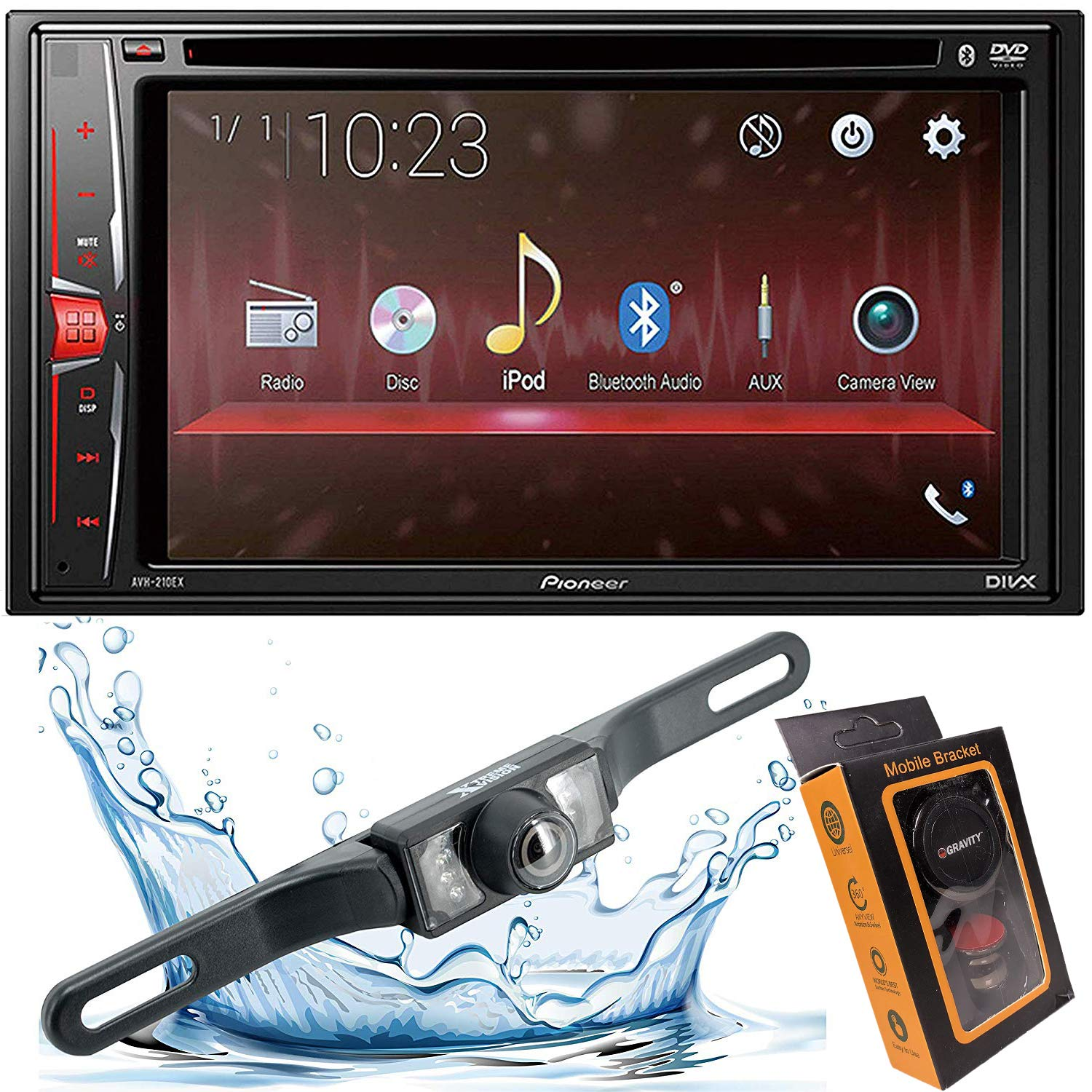 Pioneer AVH-X490BS Double Din Bluetooth In-Dash DVD CD Am FM Car Stereo Receiver with 7-Inch WVGA Display Sirius Xm-Ready