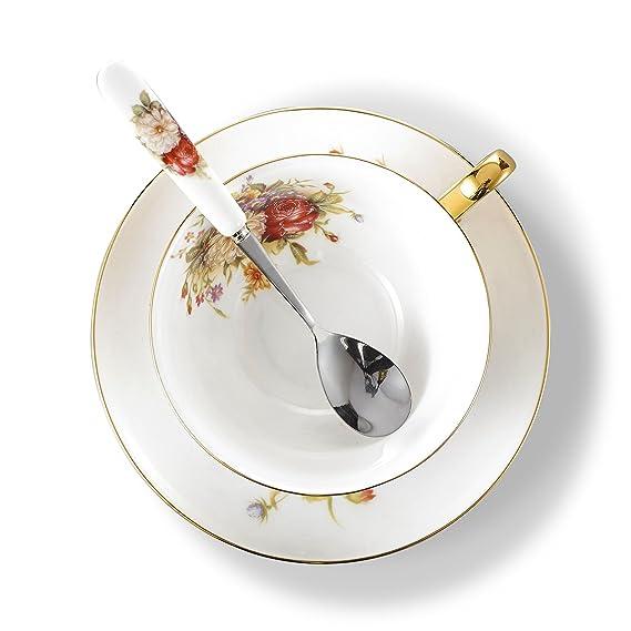 13 x 10 x 6 cm 1 plato y 1 cuchara 200 ml Panbado 3 piezas Vajilla de Porcelana Taza de T/é tazas de caf/é,incluye 1 vaso