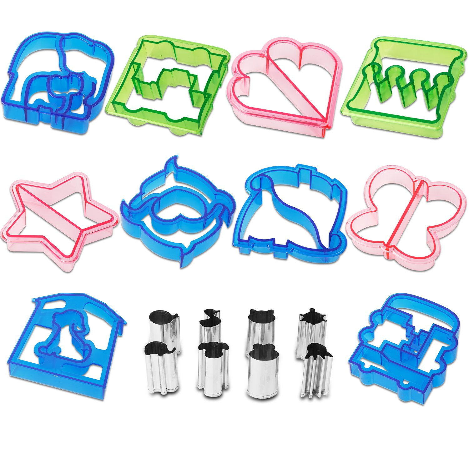 18pcs Sandwich Cutter / Crust Cutters / Bread Cutter Shapes - Come with 8 mini Vegetable Cutters