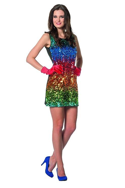 Pailettenkleid Wilbers Fasching Kostüm Glitzer Regenbogen Damenkostüm Karneval Damen Bunt Spielzeug 4229 tRwTrqt