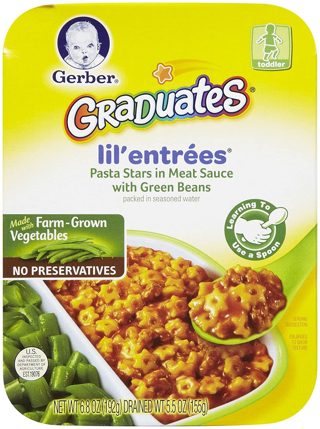 Gerber Graduates Lil' Entrees - Pasta Stars in Meat Sauce with Green Beans - 6.8 oz - 3 pk