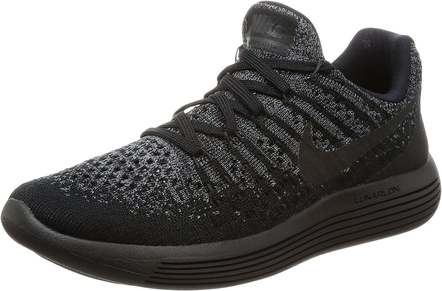 Nike Women s Lunarepic Low Flyknit 2 Running Shoe Black Black-Dark Grey-Racer Blue 7.5