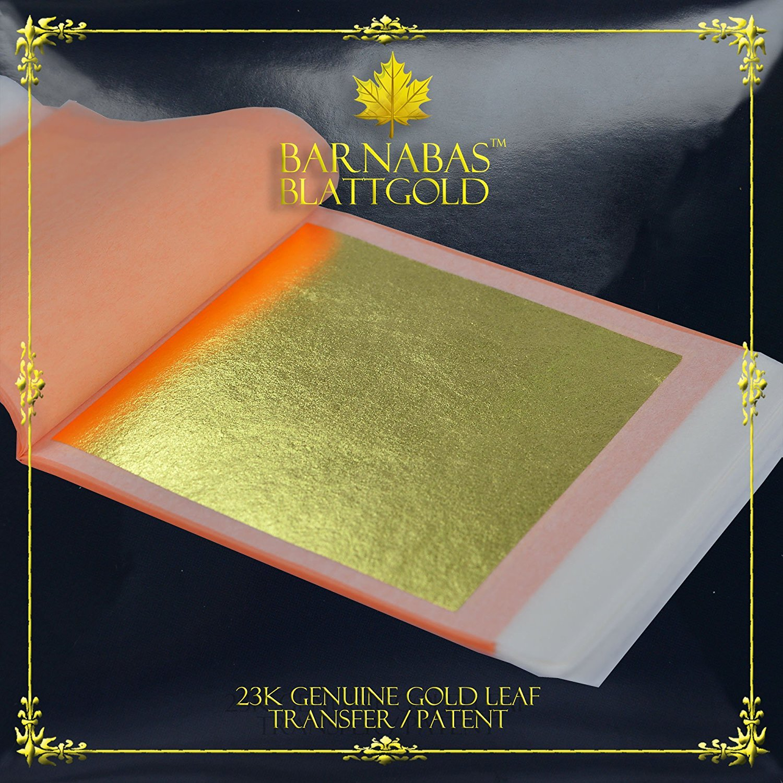Barnabas Blattgold: Professional Quality Genuine Gold Leaf Sheets, 23k, 25 Sheets, 85 x 85 mm Booklet (Transfer/Patent) G85-23K*-25