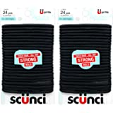 Scunci Thick Hair Black Elastics, All day strong hold No-Damage, 5mm thickness, 24-Pieces per pack (2-Pack)