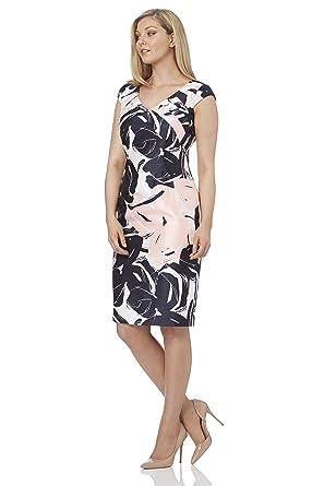 91f7b4f0313a5c Roman Originals Women's Pleat Neck Floral Print Dress - Ladies Pleated  Summer Wedding Guest Dresses -