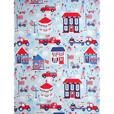 Firetruck Houses Gazebo Blue Cotton Fabric Patriotic Parade by The Yard: Arts, Crafts & Sewing