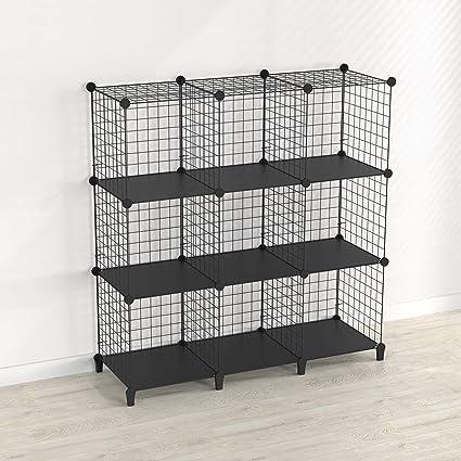 SIMPDIY estanteria Modular Malla Almacenamiento, librería Armario 9 Cubos, estanterias metalicas almacenaje Alta Capacidad, Vitrina Almacenamiento ...