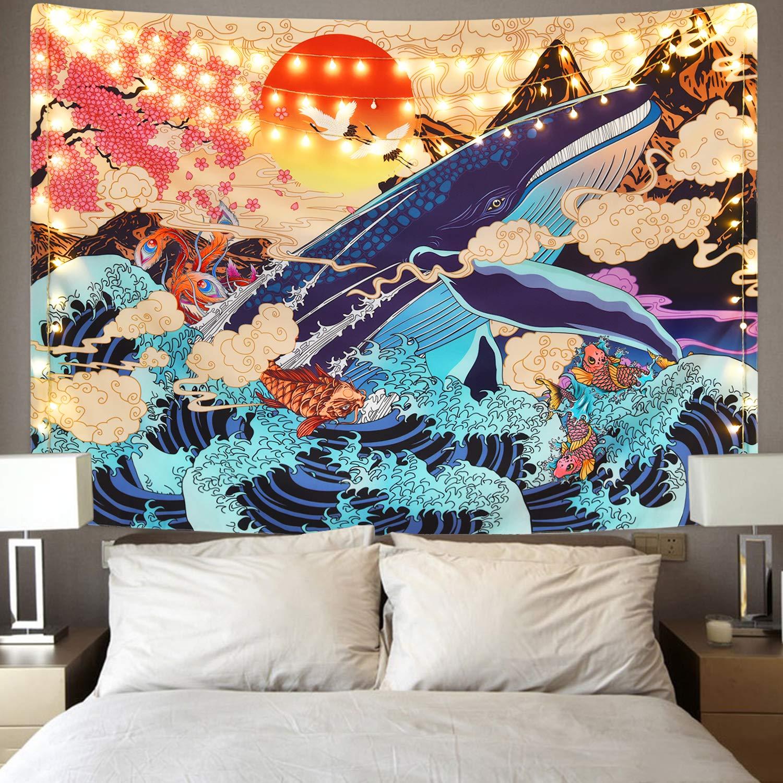 Sevenstars Japanese Ukiyo-e Tapestry Sea Wave Koi Tapestry Trippy Whale Japanese Tapestry, Sunset Animal Tapestry for Dorm Bedroom Living Room