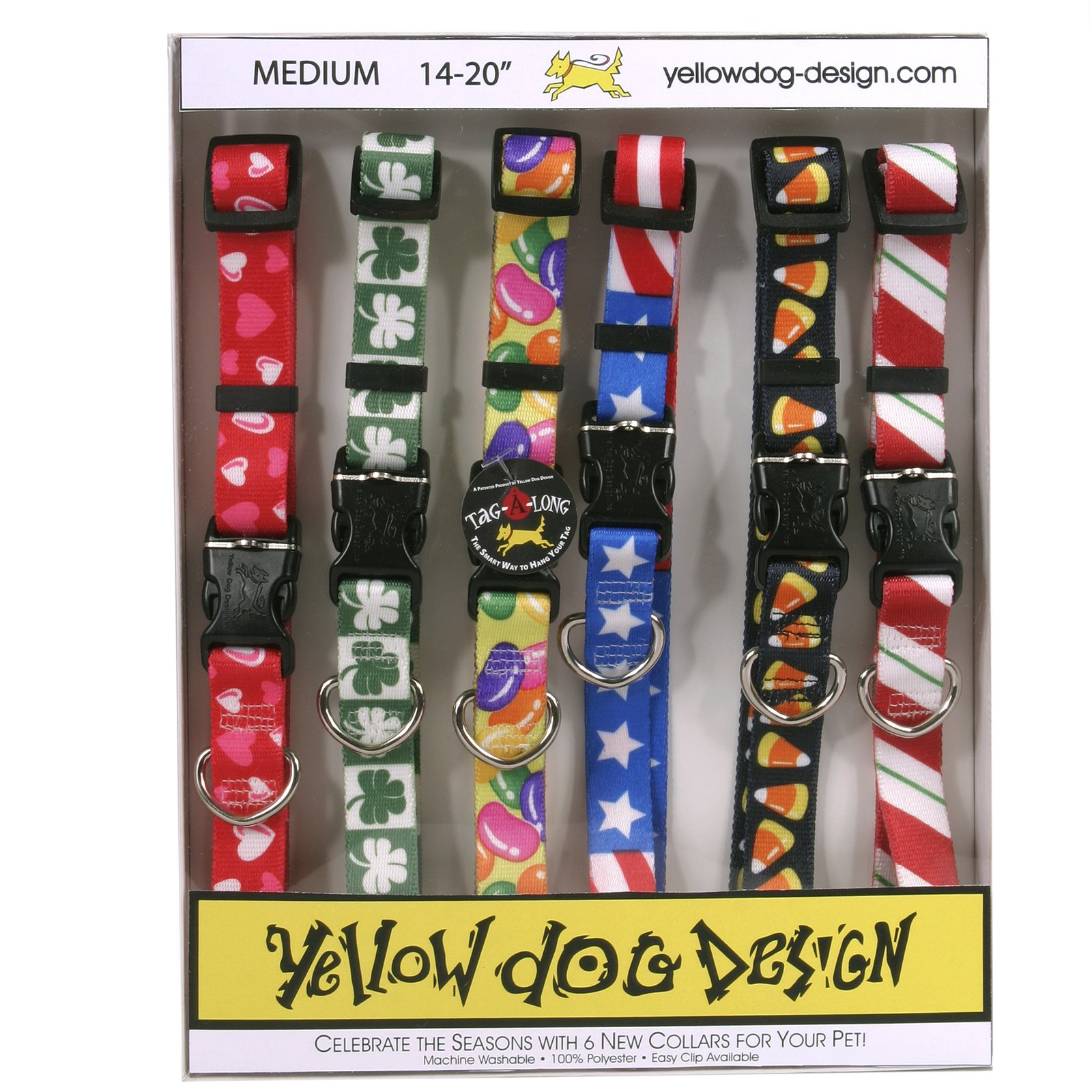 Yellow Dog Design Seasonal Dog Collar Calendar Pack with Tag-A-Long-Medium-3/4 Wide and fits Neck 14 to 20'' by Yellow Dog Design