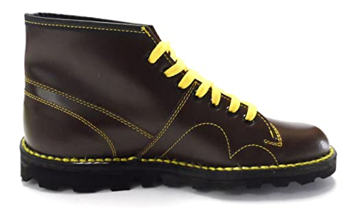 retro mod unisex leather monkey boots in black and oxblood (12, oxbood):  Amazon.co.uk: Shoes & Bags