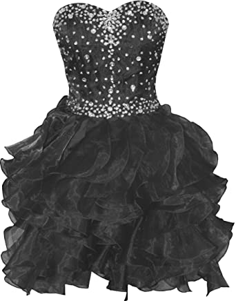 539c9aa23a9 Onlybridal Women s Organza Beaded Lace Up Back Short Prom Dresses Black