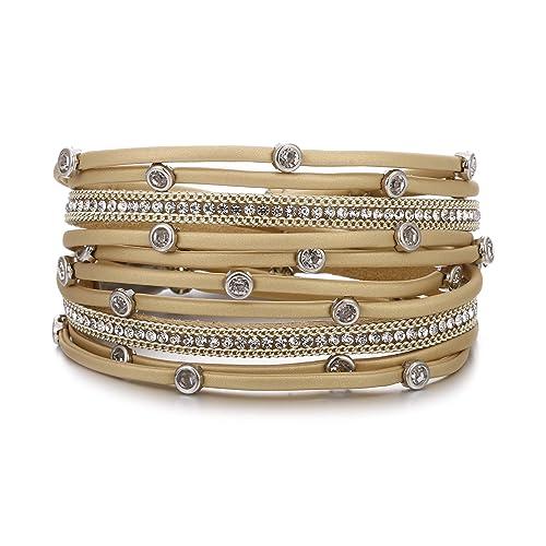 ce1d8395b40 VONRU Leather Wrap Bracelet for Women - Charm Boho Multilayer Gorgeous  Bracelets Wristbands - Casual Braided Handmade Magnetic Bracelet Cuff  Bangle Gift for ...