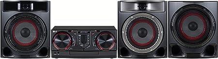 LG CJ45 Sistema de Audio para el hogar Minicadena de música para Uso doméstico Negro, Rojo - Microcadena (Minicadena de música para Uso doméstico, Negro, Rojo, Monótono, 1 Discos, Frente, 3 Ω)