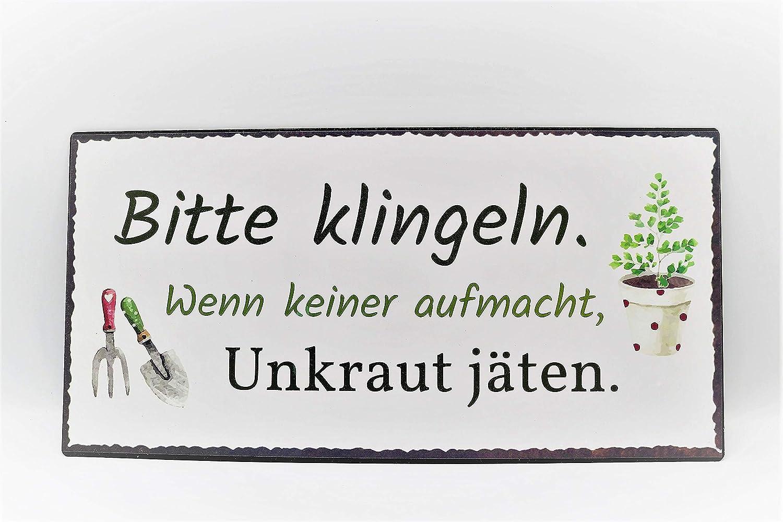 Bo Metall Schild Bitte klingeln 40x20cm Bildmotiv Gartendeko Spruch Tafel