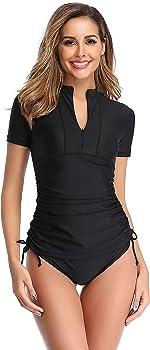 SailBee Women's UV Sun Protection Short Sleeve Rash Guard Wetsuit Swimsuit