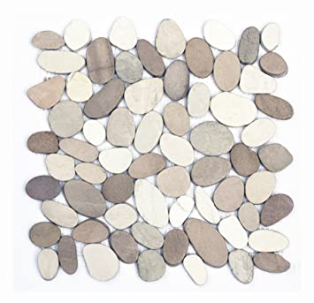 K-554 Kieselstein Mosaik-Fliesen Weiß + Tan geschnitten Fliesen ...