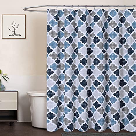 caromio extra long shower curtain 96 inch geometric quatrefoil patterned poly cotton farmhouse fabric shower curtain navy blue grey 72x96 inches