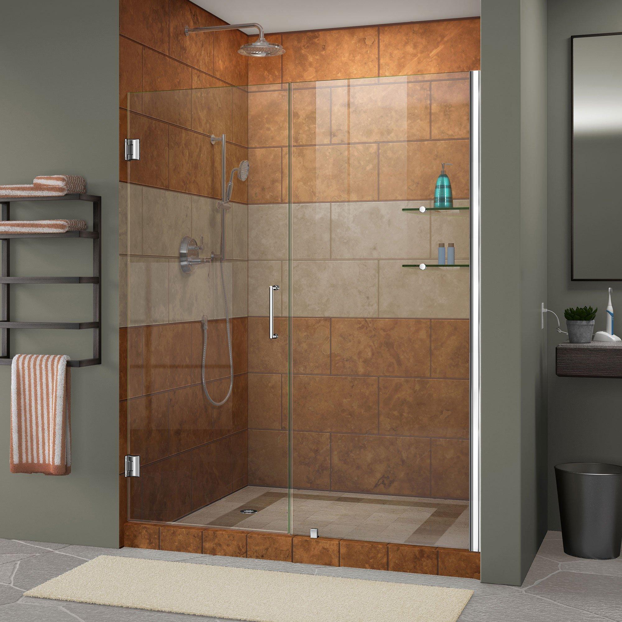 DreamLine Unidoor 53-54 in. Width, Frameless Hinged Shower Door, 3/8'' Glass, Chrome Finish