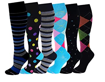 7bc887747 Image Unavailable. Image not available for. Color  6 Pairs Pack Women Dr  Motion Graduated Compression Knee High Socks ...