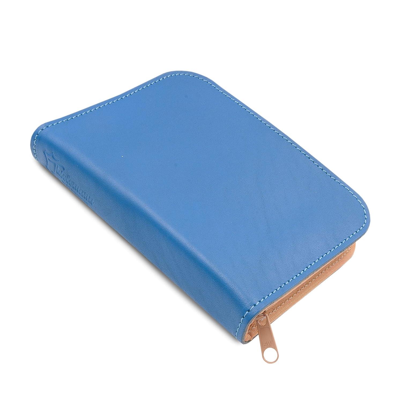 Made in Germany gefüllte Federtasche - Stifteetui TORONTO aus Echt-Leder in blau mit Reißverschluss von THIELEMANN