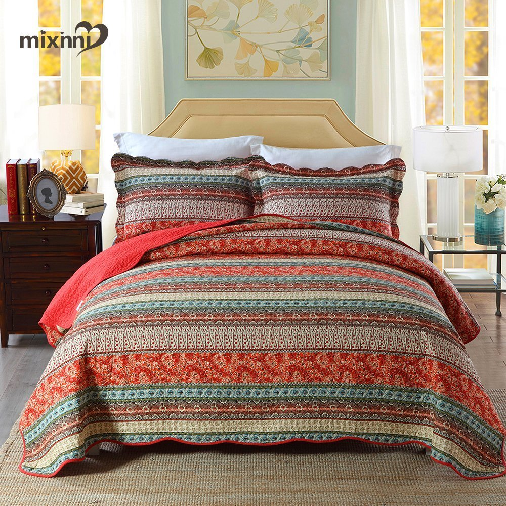 mixinni 100% Cotton 3 Piece Striped Boho Style Bedspread Quilt Sets, Reversible&Decorative---(1 Quilt 96''W x 106''L + 2 Pillow Shams 20''W x 36''L), King Size,Red