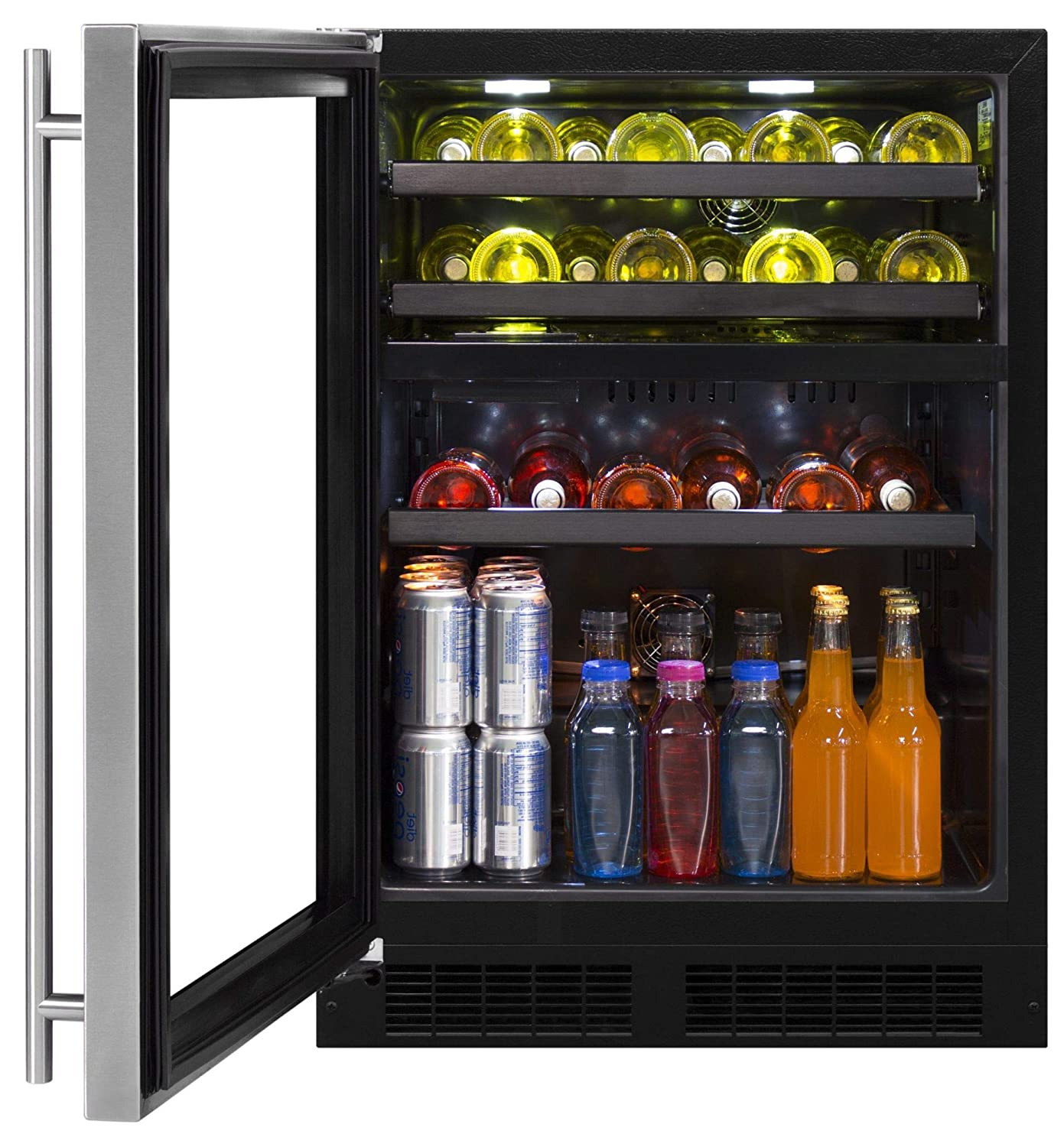 "Marvel ML24WBG1LS 24"" Wide 16-Bottle and 112-Can Built-In Dual Zone Wine and Beverage Cooler with LED Lighting, Black Toe Kick and Left Door Hinging"
