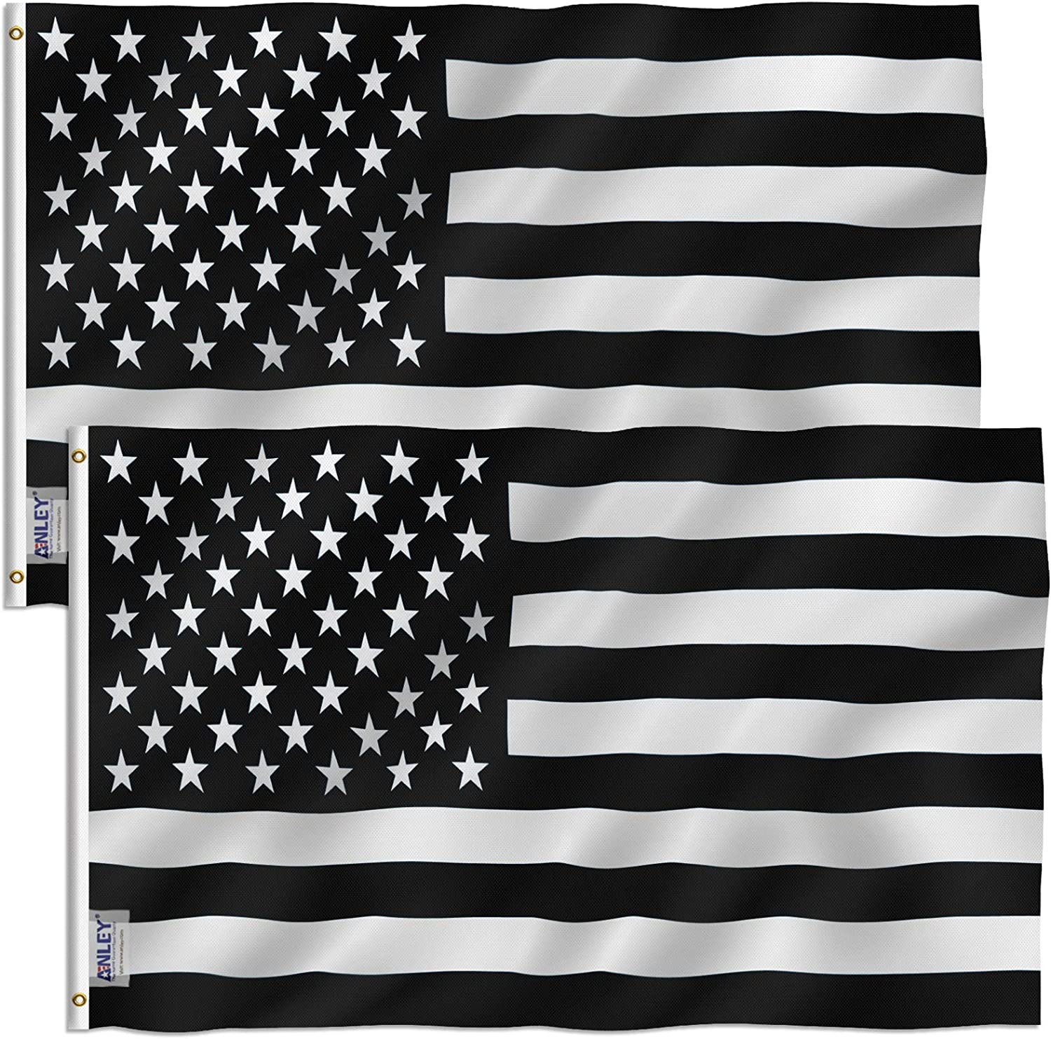 Anley Pack of 2 Fly Breeze 3x5 Foot Black and White American Flag - Vivid Color and Fade Proof - Canvas Header and Double Stitched - Recession USA Flags Polyester with Brass Grommets 3 X 5 Ft