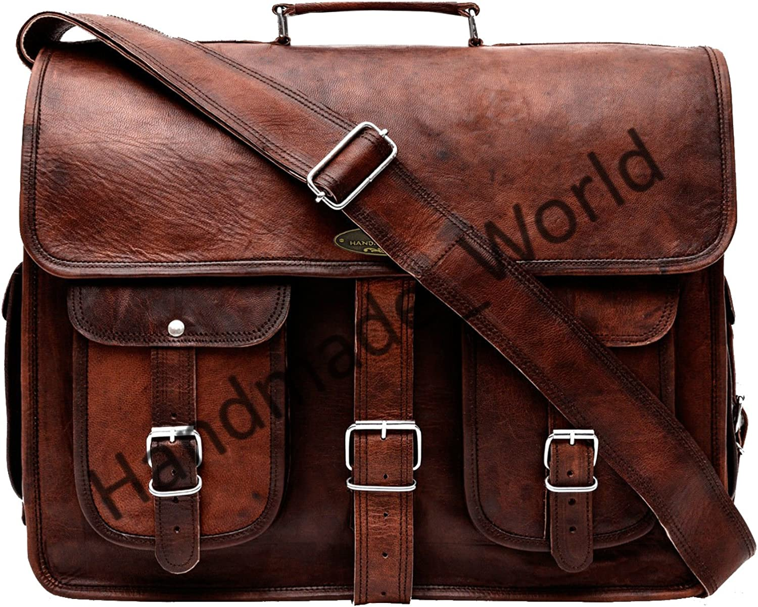 Handmade World Leather Messenger Bag 16 Inch Brown Air cabin Briefcase Leather Cross body Shoulder Large Laptop School bag 12 X 16