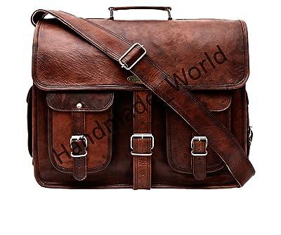 Handmade World Leather Messenger Bag 16 Inch Brown Air cabin Briefcase Leather Cross body Shoulder Large Laptop School bag