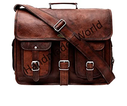 d7db32fc33 Image Unavailable. Image not available for. Color: Handmade World Leather  Messenger Bag - 16 Inch Briefcases for Men Brown Leather Laptop ...