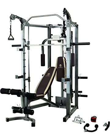 7fe0e9e74bcc2 Marcy Smith Cage Machine with Workout Bench and Weight Bar Home Gym  Equipment