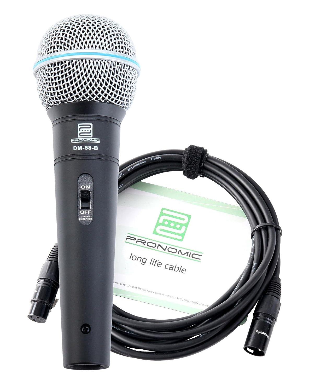 Pronomic DM-58-B Vocal Mikrofon mit Schalter inkl. 5m XLR Kabel mit druckvollem, warmem Klang DM-58-B Set XLR