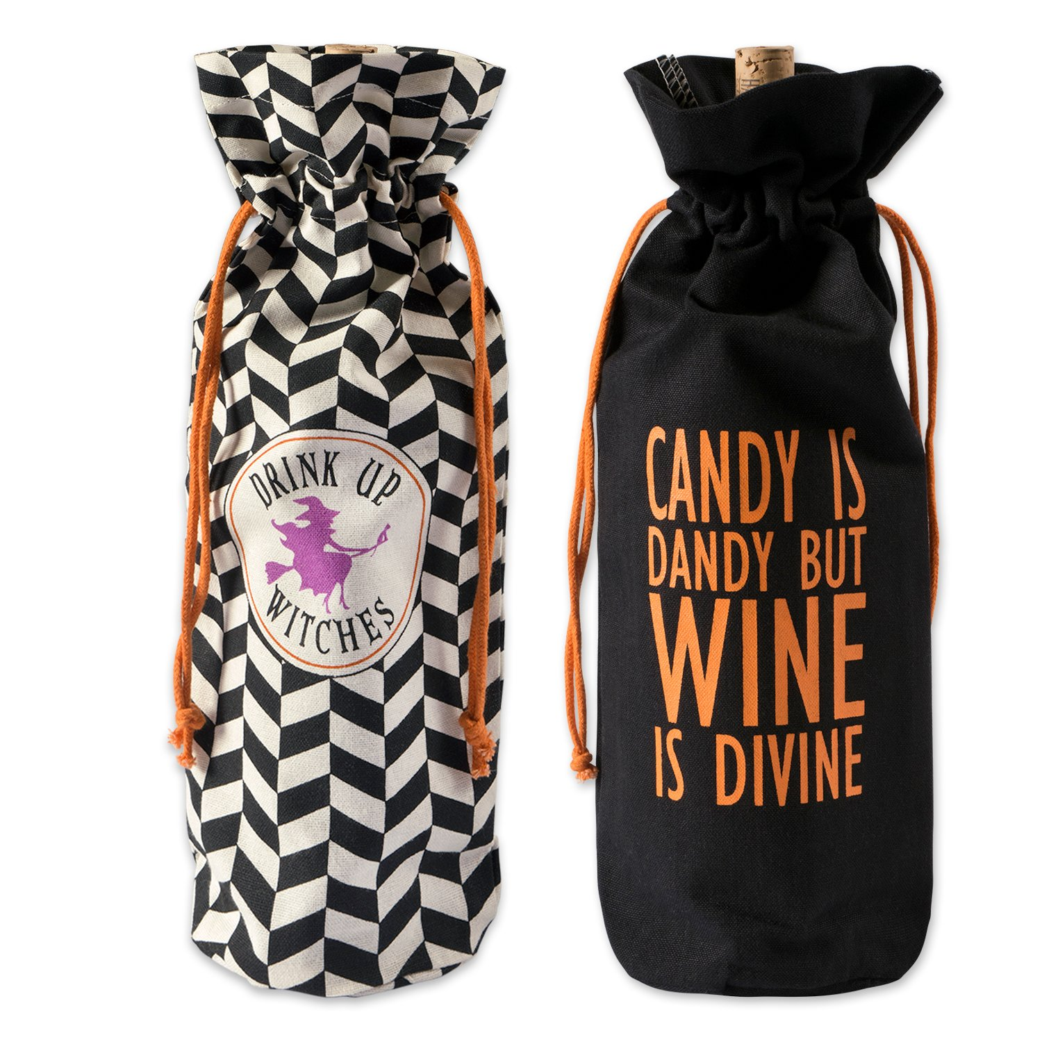 DII Cotton Halloween Reusable Drawstring Gift Bag, 6''(W)x 14''(H) x 4''(Dia), Set of 2 for  Wine, Beverages, Gifts, Holiday Party Accessory-All Hallows Eve by DII