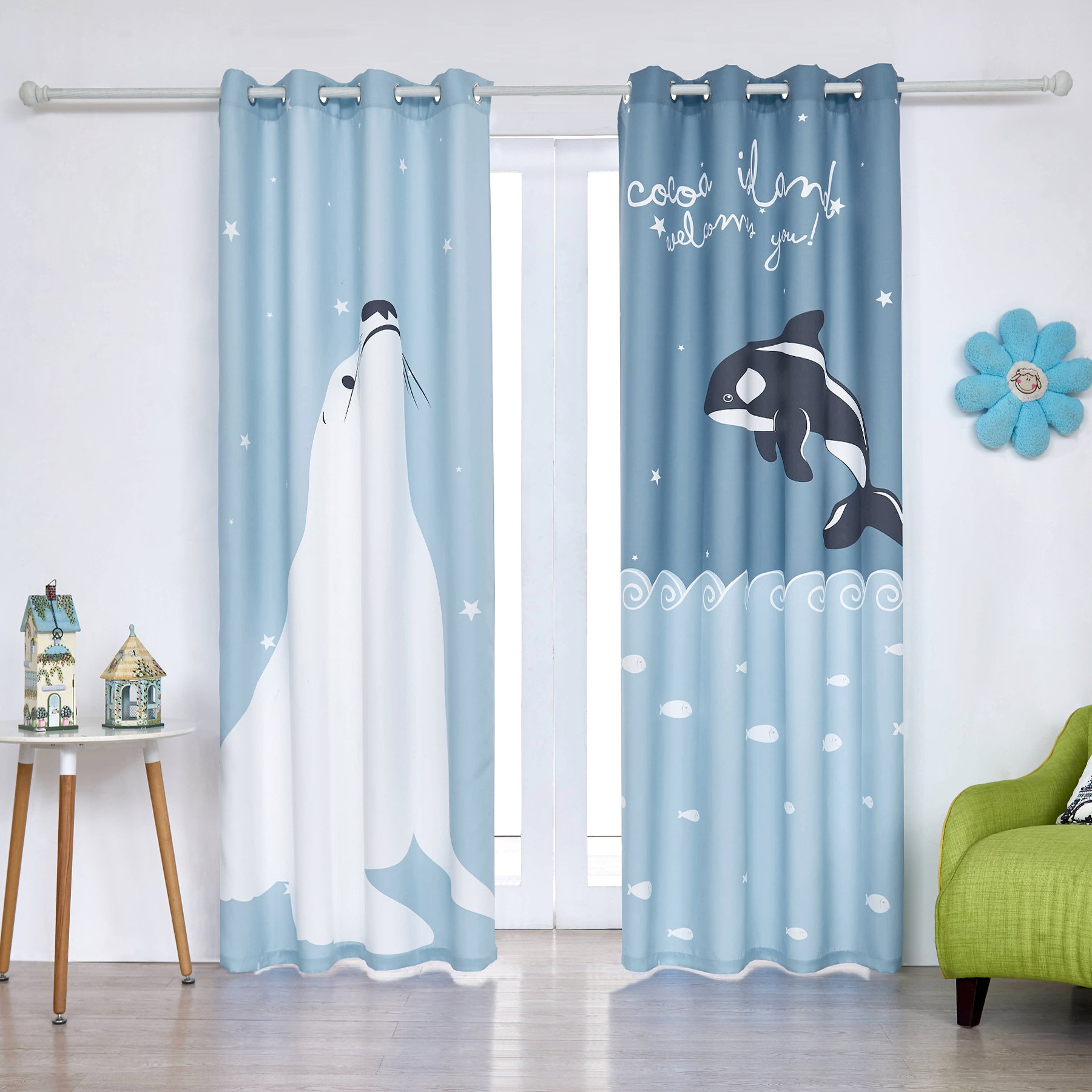 Fassbel 2 Panel Set Digital Printed Blackout Curtains for Bedroom Living Dining Kids Youth Room Window Drapes (W54× L95, Sea Lion and Dolphin)