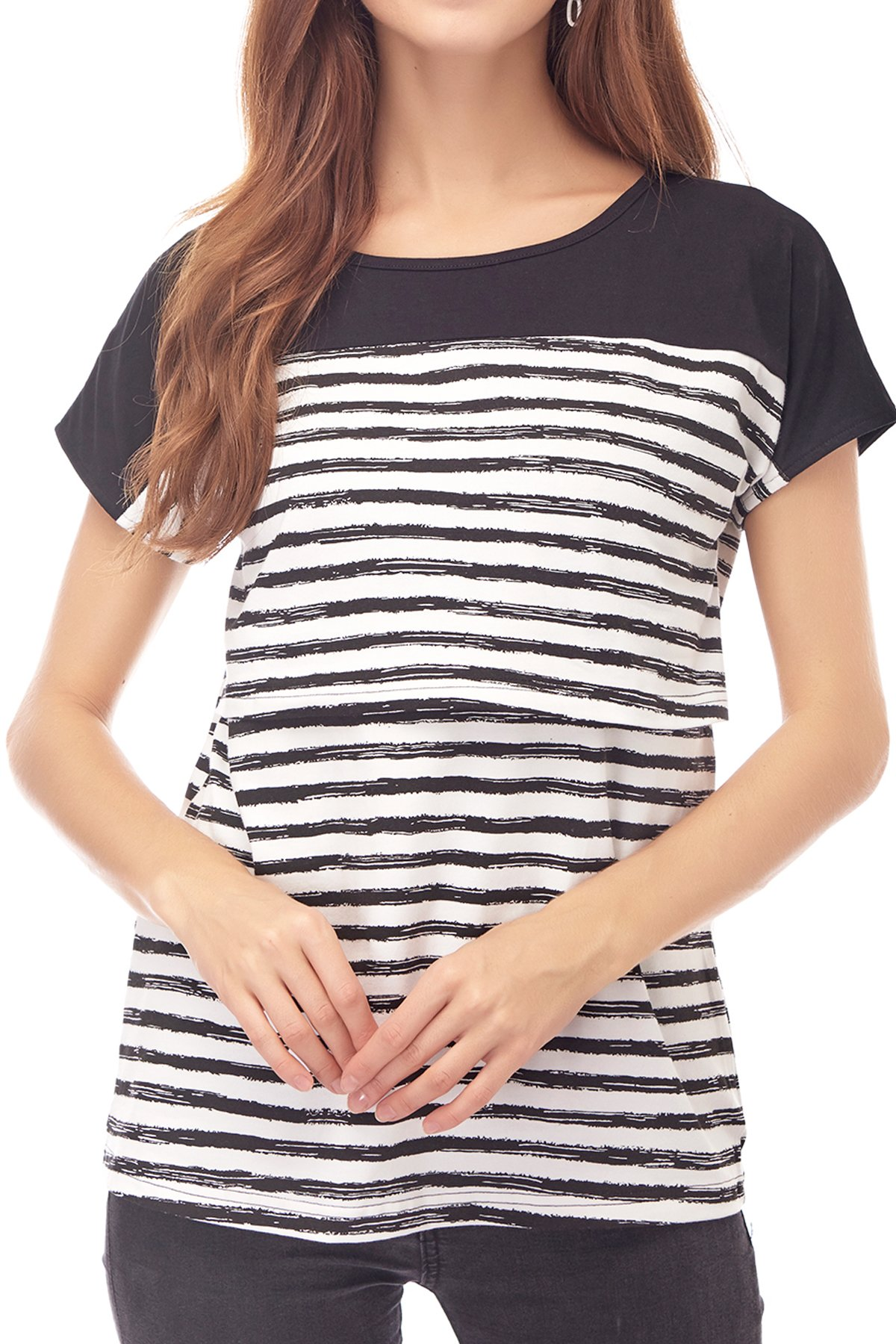 Smallshow Women's Maternity Nursing Tops Breastfeeding T-Shirt Large Black by Smallshow (Image #6)