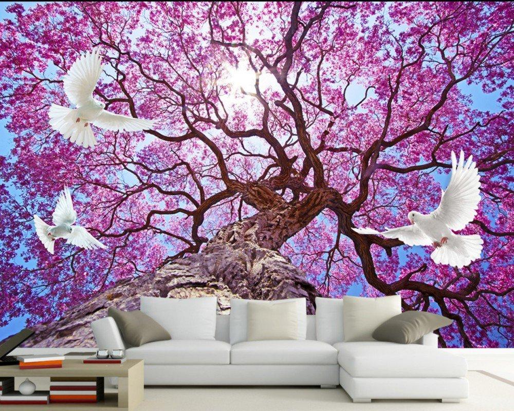 ロマンチックな花バードツリーフラワーテレビの背景 壁画3D 天井の天井の壁紙ホテルロビー壁画 カスタマイズサイズ シルク生地 Wapel 250X160Cm(98.43X62.99 In) B07DK355L3 250x160cm(98.43x62.99 in)