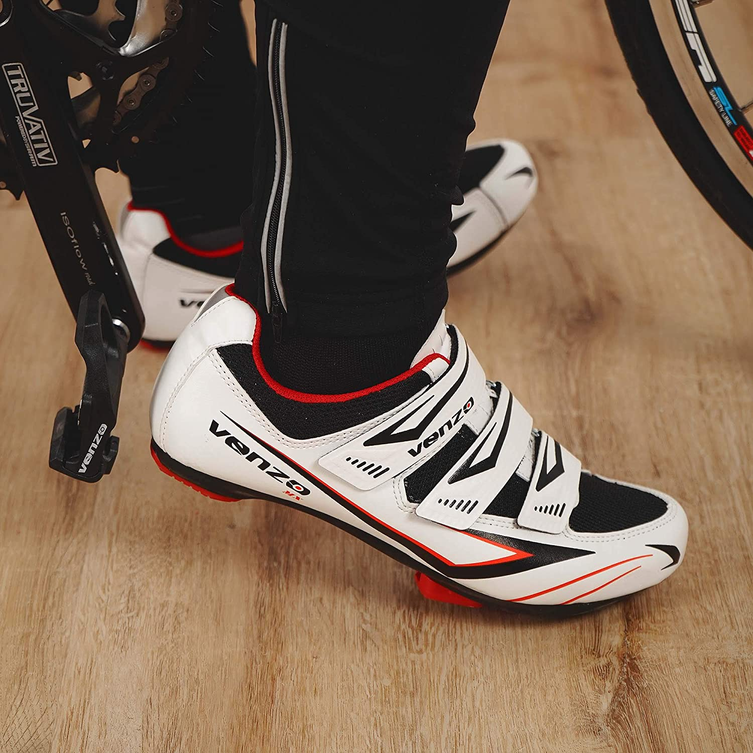 Venzo Bicycle Mens or Womens Road Cycling Riding Shoes with Look KEO Compatible Sealed Bearing Pedals /& Cheats Perfect for Road Racing Bikes White Color 3 Velcro Straps