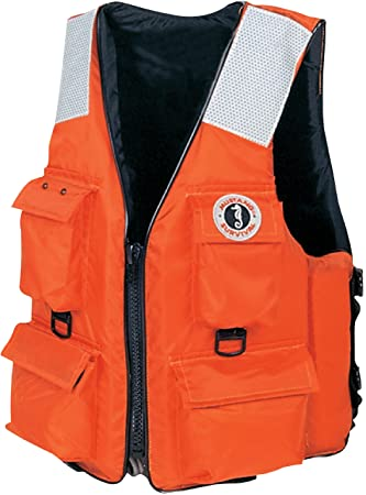 Mustang Classic Industrial PFD with 4 Pockets, Orange, Small