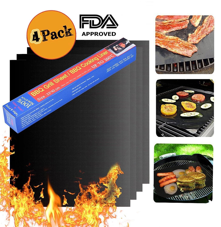 Casetop grill Mat, set di 4tappetini da grill antiaderente, riutilizzabile–facile da pulire–40,1x 33cm