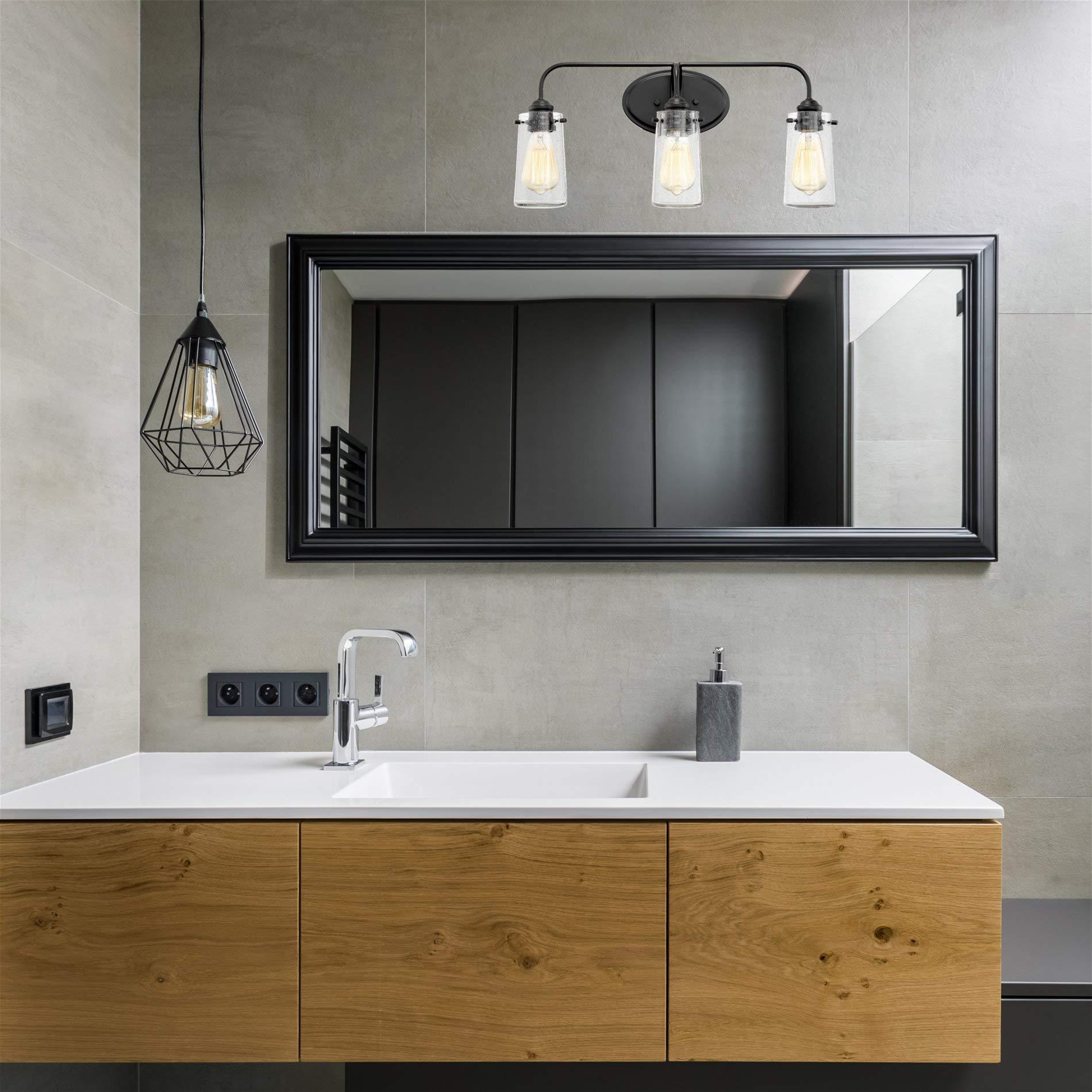 Kira Home Rayne 22.5'' Modern 3-Light Vanity/Bathroom Light, Seeded Glass + Matte Black Finish by Kira Home (Image #3)