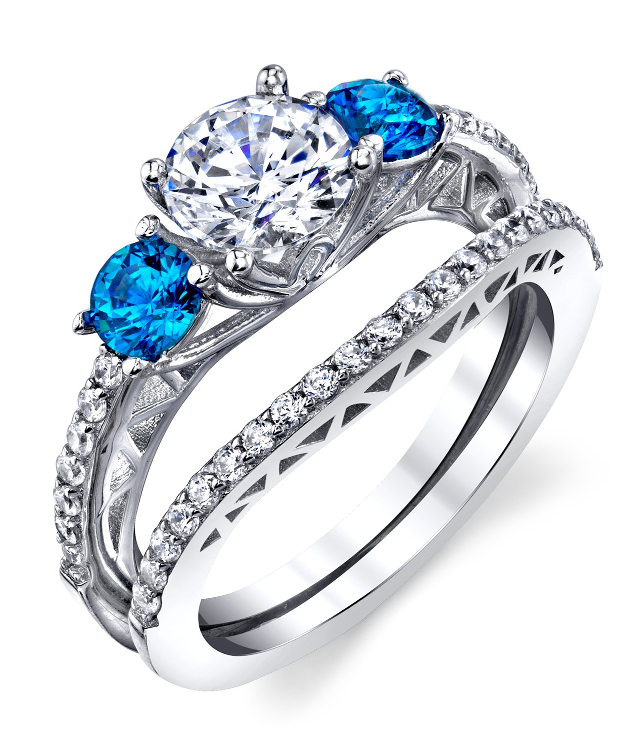 Metal Masters Co. Sterling Silver 925 Engagement Rings Wedding Band Bridal Set Cubic Zirconia 2pcs 6