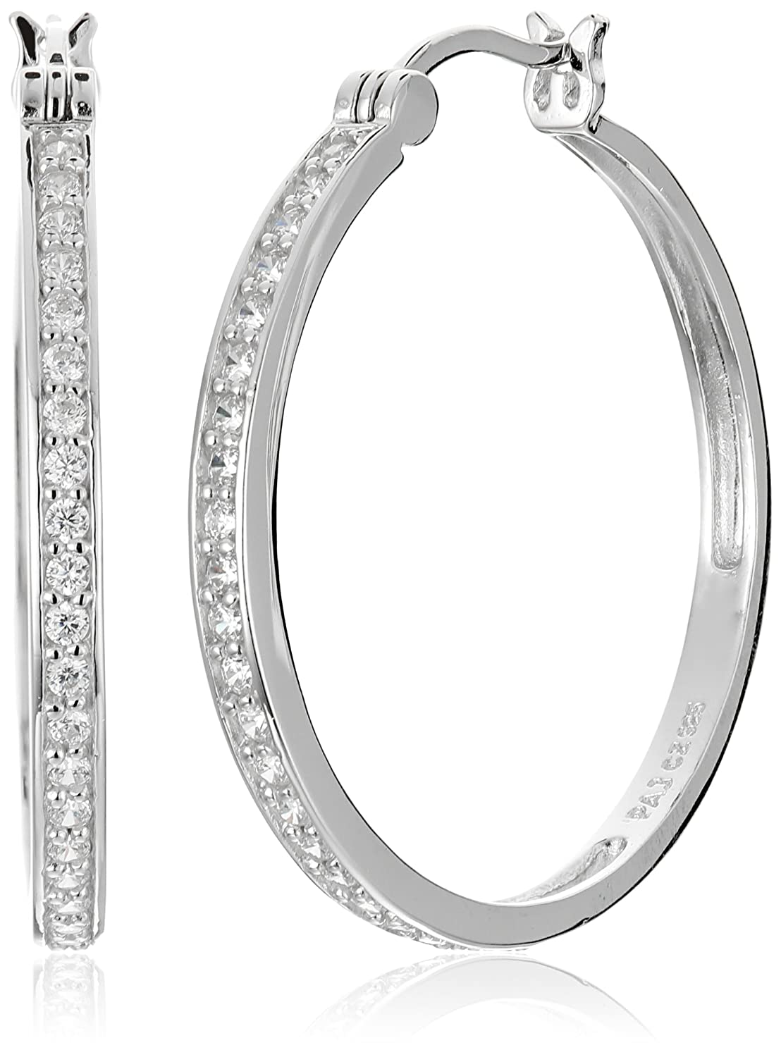 Sterling Silver Cubic Zirconia Hoop Earrings (1.2 Diameter) Amazon Collection R2A51D000K