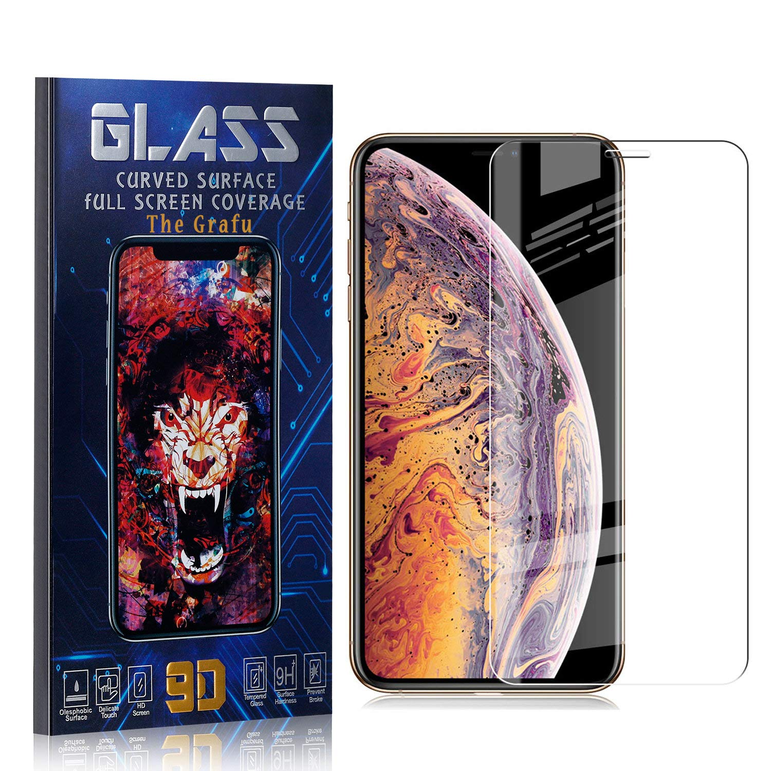 High Transparency Screen Protector for iPhone Xs Max 1 Pack Easy Installation The Grafu Screen Protector for iPhone Xs Max Tempered Glass Bubble Free