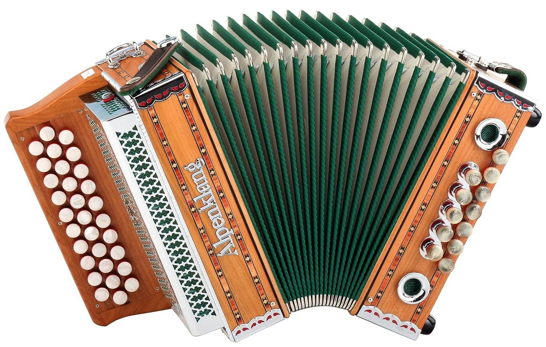 Alpenklang Steirische Harmonika Mini massiv aus Kirschholz (G-C-F Stimmung, 31 Knopftasten, 11 Helikon-Bässe, 3-reihig, inkl. Rucksack-Case) 11 Helikon-Bässe