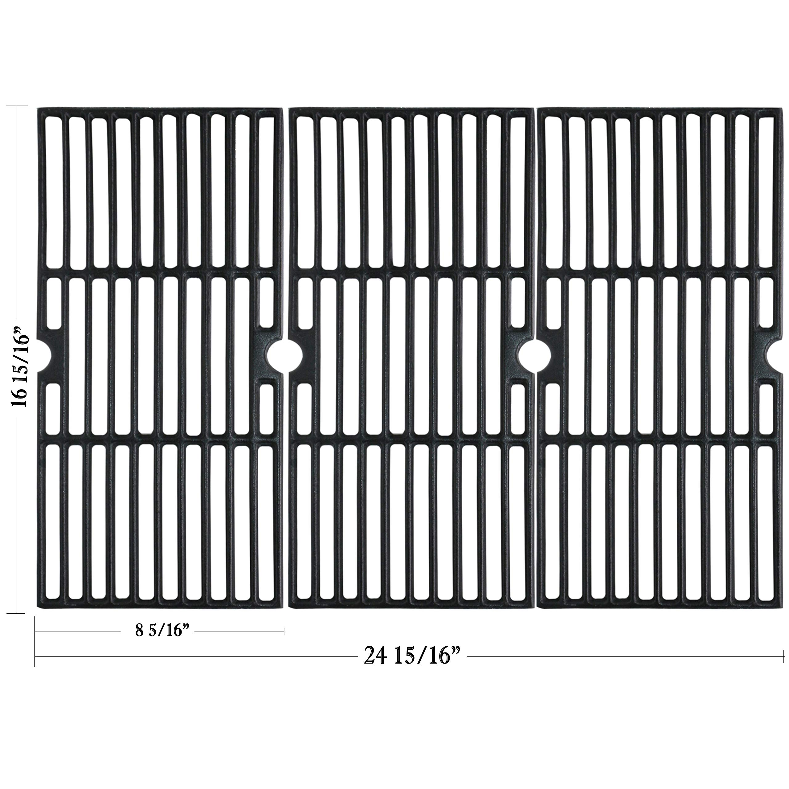 Hisencn Cast Iron Cooking Grid Grates Replacement for Charbroil Advantage 463343015, 463344015, 463344116, and Kenmore, Broil King Gas Grill Models, G467-0002-W1, 16 15/16'' by Hisencn