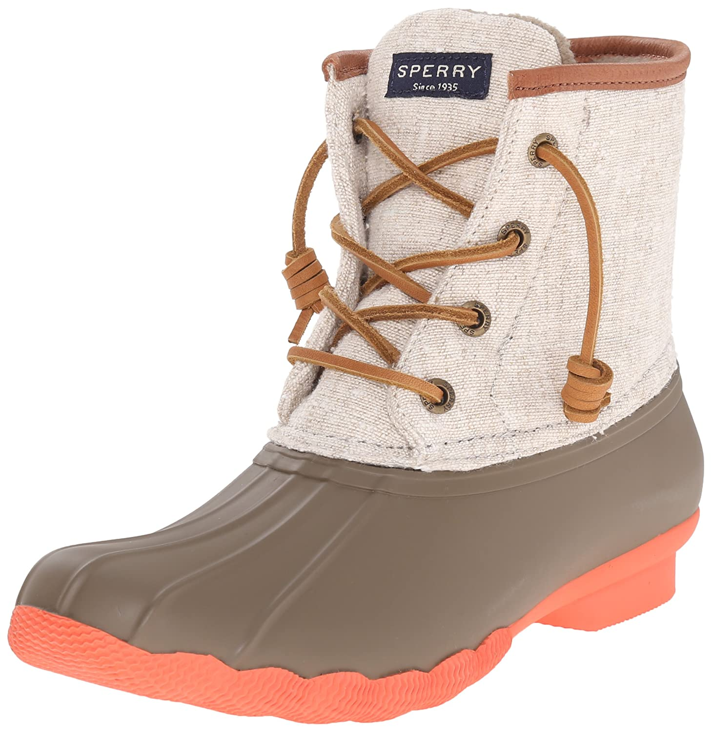 Sperry Top-Sider Women's Saltwater Prints Rain Boot B00VKT2AS0 7.5 B(M) US|Taupe/Natural