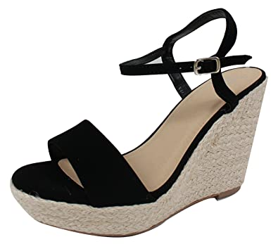 b7c8758c21f Delicious Women s Open Toe Ankle Strap Espadrille Wedge Sandal (Black