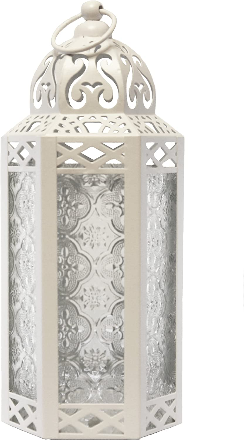 Vela Lanterns Moroccan Style Candle Lantern, Medium, Clear Glass, White